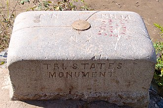 Tri-state area - NJ–NY–PA tripoint marker
