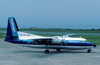 NLM CityHopper - An NLM CityHopper Fokker F-27-200 at Jersey Airport. (1983)