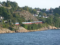 NSB train at Østfoldbanen, just after Moss station.jpg
