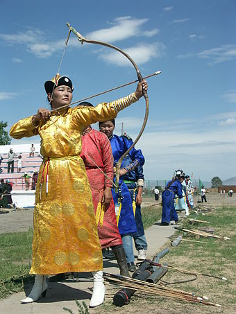 A women's archery competition held during the 2005 Naadam festival Naadam women archery.jpg