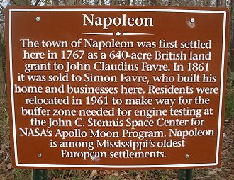Simon Favre - Historical marker at Napoleon, Mississippi; the Simon Favre information is erroneous unless this refers to a later generation Simon.