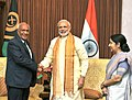 Narendra Modi meeting the Prime Minister of Vanuatu, Mr. Sato Kilman, in Jaipur on August 21, 2015. The Union Minister for External Affairs and Overseas Indian Affairs, Smt. Sushma Swaraj is also seen.jpg