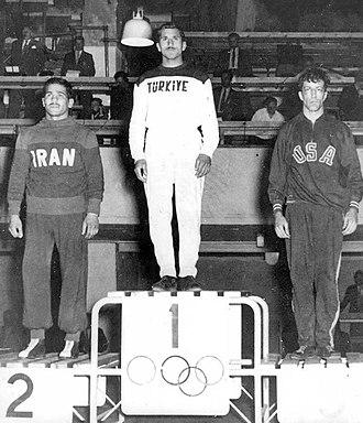 Bayram Şit - Şit (center) at the 1952 Olympics