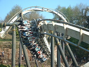 Nemesis (roller coaster) - A Nemesis train travelling around the stall turn immediately after the vertical loop