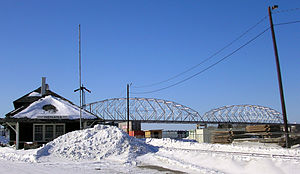 Nenana, Alaska - Nenana train station and Parks Highway bridge