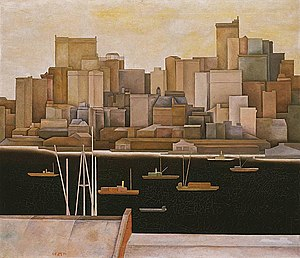 Stefan Hirsch - New York, Lower Manhattan by Stefan Hirsch, 1920 or 1921, oil on canvas, 74 x 86 inches