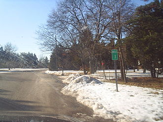 New Jersey Route 167 - Route 167 southbound near the few signage designating the highway, a 0.1 milepost marker in Port Republic