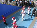New Mexico State football players in San Jose State Spartan Stadium.jpg