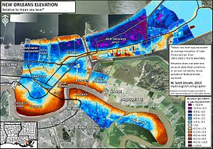 Drainage in New Orleans - Elevation map of New Orleans. Blue/purple indicates elevations below the average level of Lake Pontchartrain (1983-2001) and orange/brown indicates elevations above.