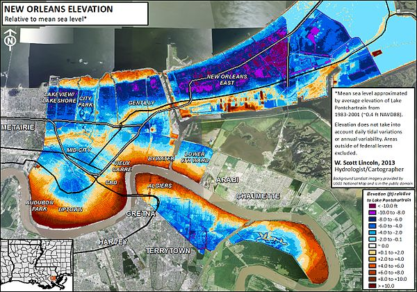 Water Elevation Map.Drainage In New Orleans Wikipedia