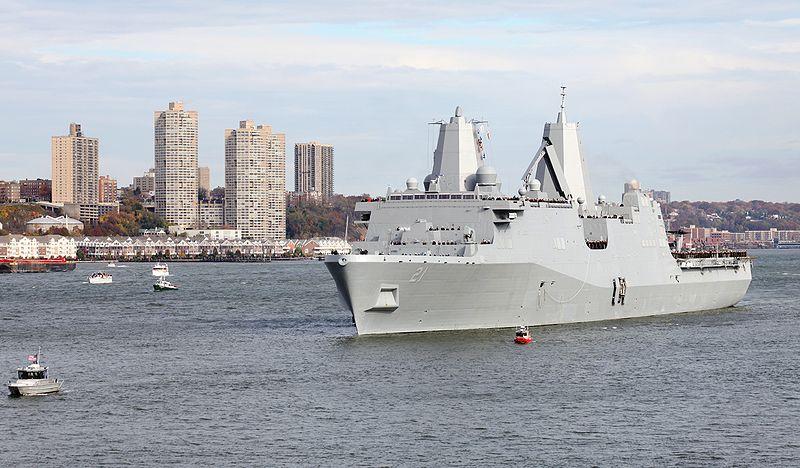 File:New York (LPD 21) transits New York Harbor.jpg
