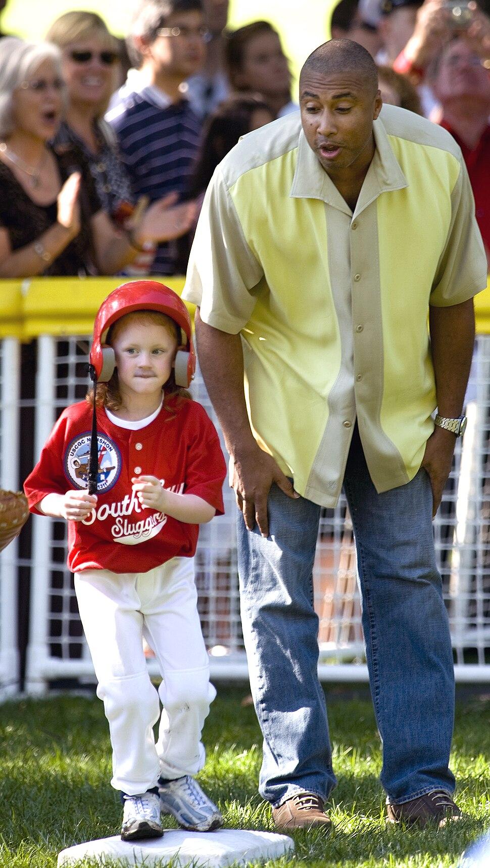 New York Yankee great Bernie Williams coaches Cassie Frank, 2008