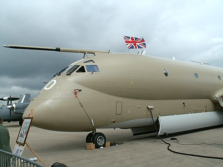 The large nose-probe on a RAF Nimrod MR2 maritime patrol aircraft. - Aerial refueling