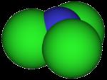 三塩化窒素の空間充填モデル