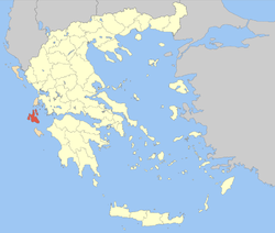 Location of Cephalonia Prefecture in Greece