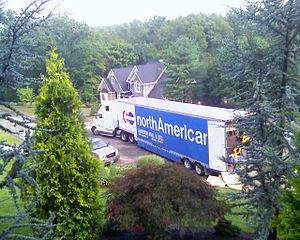 North American Van Lines - A North American Tractor-Trailer in the process of unloading in Washington, Pennsylvania.