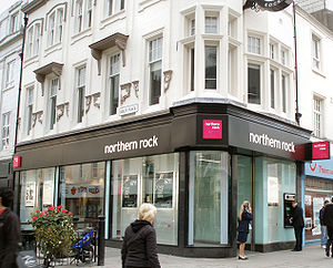 Northern Rock - A typical Northern Rock branch, on Northumberland Street, Newcastle upon Tyne in 2007. On 9 January 2012 it was given a temporary Virgin Money rebrand when Richard Branson visited Newcastle, and along with all other branches was fully rebranded later that year.