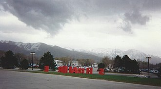 Novell BrainShare - BrainShare letters on the campus of the University of Utah with the Wasatch Range in the background, March 1995