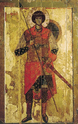 Saint George (icon, 1130) - Image: Novgorod George