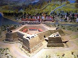 Model af Nyen, med fæstningen Nyenskans i forgrunden