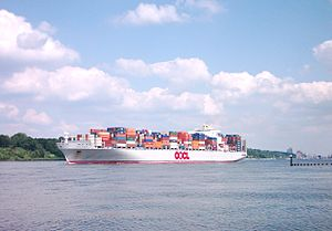 Orient Overseas Container Line - OOCL Europe on the Elbe, in Hamburg, Germany.