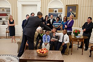 "Waiting for ""Superman"" - President Barack Obama greets members of the cast at the White House."