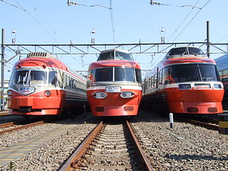 Romancecar - 3000, 3100 and 7000 series Romancecar trains, left to right, in traditional colors