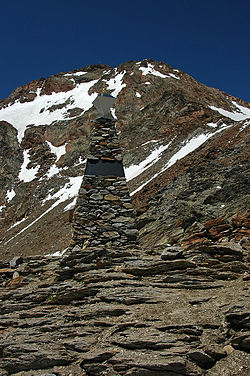 The Ötzi memorial on the Similaun mountain, where Ötzi the Iceman was found, in the Ötztal Alps.