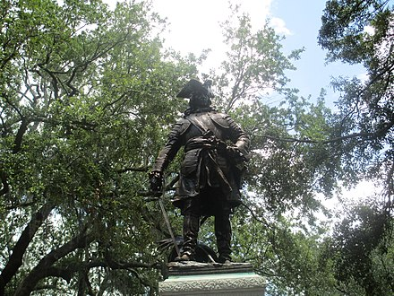 Statue of James Oglethorpe in Chippewa Square, completed in 1910 by Daniel Chester French Oglethorpe statue in Savannah, GA IMG 4716.JPG