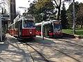 Old and new trams Vienna Pötzleinsdorfer Schloßpark (8676849975).jpg