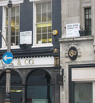 Bond Street - Bond Street has always been divided into two sections: Old Bond Street to the south and New Bond Street to the north. The London branch of the jeweller Tiffany & Co. is next to the divide.