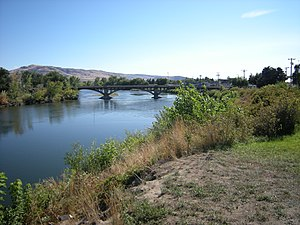 Okanogan River - The river at Omak, Washington.