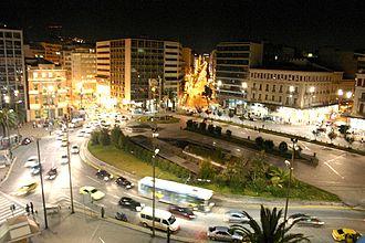 Omonoia, Athens - Night view of Omonoia Square.
