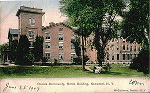 Free love - The Oneida Community was a utopian group established in the 1840s, which practiced a form of free love. Postcard of the Oneida Community Mansion House from 1907.