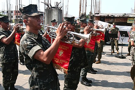 Buglers of the Philippine Marine Corps Drum and Bugle Team. The team is the only drum and bugle band in the Armed Forces of the Philippines. Operation Goodwill gives hope to children, families in the Philippines DVIDS232175.jpg