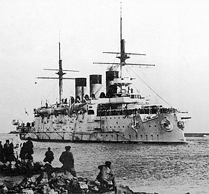Battle of Tsushima - Russian battleship Oslyabya, the first warship sunk in the battle