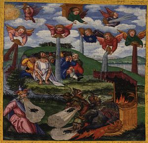 Seven bowls - The Giving of the Seven Bowls of Wrath / The First Six Plagues, Revelation 16:1-16. Matthias Gerung, c. 1531