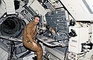 Owen Garriott at the Apollo Telescope Mount console