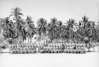 Large crowd of military men seated in front of three single-engined aircraft with palm trees in the background