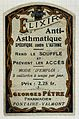 PHARMACEUTICAL LABELS; Elixir anti-asthmatiq Wellcome L0032440.jpg