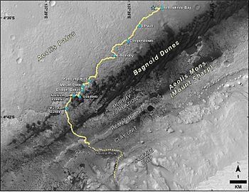תיאור מסלולו של קיוריוסיטי במהלך שהותו על מאדים מאז שעזב את אזור הנחיתה בין השנים 2013 - 2016