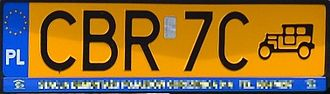 Vehicle registration plates of Poland - Polish classic car's plate (since May 1, 2006)