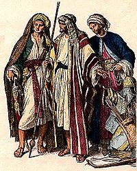 Dress of Arab men, fourth to sixth century.
