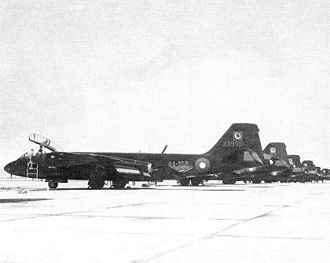 Pakistan Air Force - PAF B-57 Canberra bombers lined up at an airbase.
