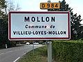 Panneau d'entrée dans Mollon (Ain, France).JPG