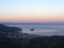 Veduta di Spotorno al tramonto