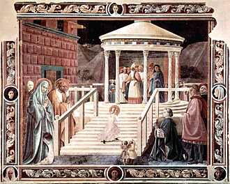 Fresco. A scene in muted colours showing the porch of a temple, with a steep flight of steps, the Virgin Mary, as a small child and encouraged by her parents, is walking up the steps towards the High Priest.