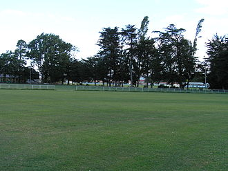 Papanui - Papanui in spring 2008 showing the domain where the pre-colonisation bush once stood with Papanui High School in the background