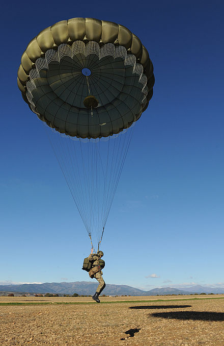 A British paratrooper from the 3rd Battalion, Parachute Regiment comes in to land on a Spanish drop zone during Exercise Iberian Eagle. Paratrooper at Spanish drop zone during Exercise Iberian Eagle.jpg