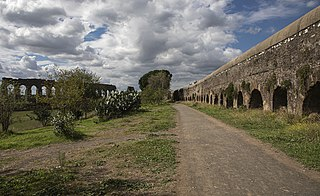 Parco degli Acquedotti park to the southeast of Rome, Italy with ancient Roman aqueducts